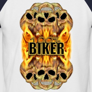 Flaming Skulls 100% Biker T-Shirts - Men's Baseball T-Shirt