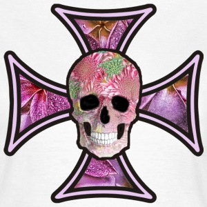 Iron Cross Flowers Skull - Women's T-Shirt