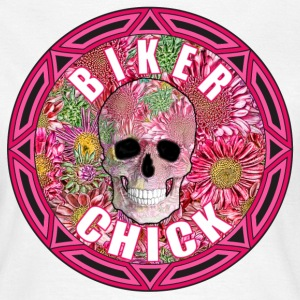 Biker Chick Flowers Skull - Women's T-Shirt