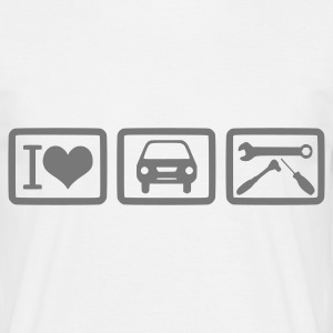 I Love car repair vorne  - Männer T-Shirt