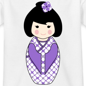 Cute Kokeshi Doll Illustration in Purple and White Kids T-Shirt - Teenage T-shirt