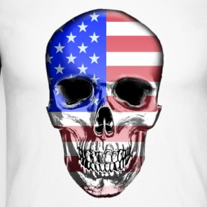 USA Skull - Men's Long Sleeve Baseball T-Shirt