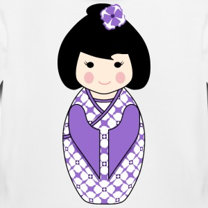 Cute Kokeshi Doll Illustration in Purple Kids Hoodie - Kids' Premium Hoodie