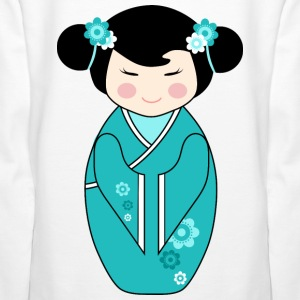 Cute Kokeshi Doll Illustration in Blue - Ladies Hoodie - Women's Premium Hoodie