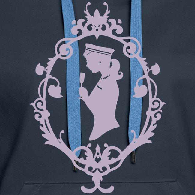 "Kapuzenpulli ""Schleife"" Navy-Lavendel Flock"