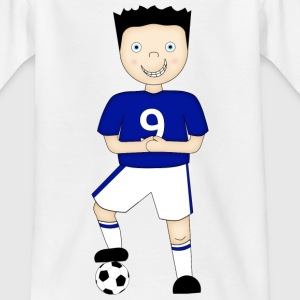 Cartoon Football Player in Blue and White Strip - Kid's T-Shirt - Teenage T-shirt