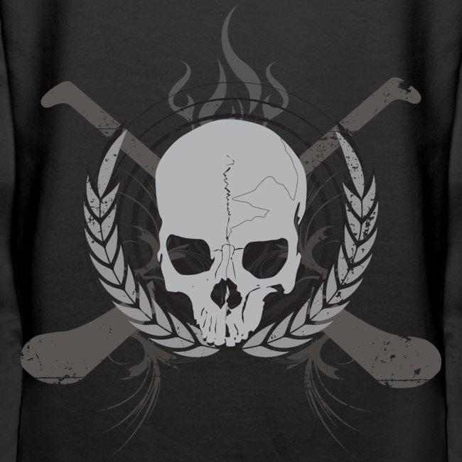 Skull And Hurleys : Grey on Black