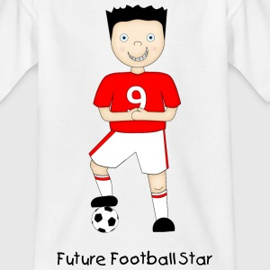 Cartoon Football Player in Red and White Strip - Kid's T-Shirt - Teenage T-shirt