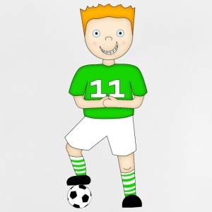 Football Player in a Green and White Strip - Baby T-Shirt - Baby T-Shirt