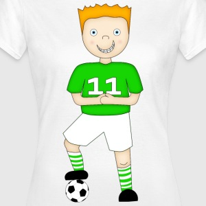 Football Player in a Green and White Strip - Ladies T-Shirt - Women's T-Shirt
