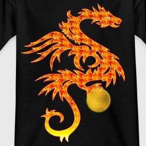 Feuerdrache mit Goldkugel | Kindershirt - Teenager T-Shirt