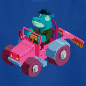 Royal blue Hippo in a tractor Shirts - Teenage T-shirt