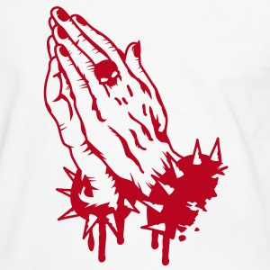 Praying hands with a skull ring and armbands T-Shirts - Men's Ringer Shirt