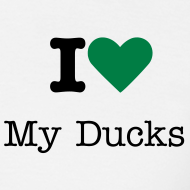 Design ~ I Love My Ducks Unisex T- shirt Green Heart Logo