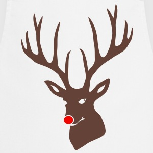 christmas x-mas merry reindeer deer rudolph red nose antlers buck heart  Aprons - Cooking Apron