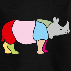 rhino rhinoceros africa horn horny wild animal colorful colors map funny happy Kids' Shirts - Teenage T-shirt