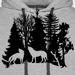 wolf pack wolves howling wild animal moon forest tree trees wildernes Hoodies & Sweatshirts - Men's Premium Hoodie
