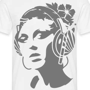 A young woman with headphones and a flower in her hair T-Shirts - Men's T-Shirt