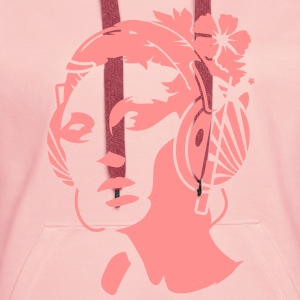 A young woman with headphones and a flower in her hair Hoodies & Sweatshirts - Women's Premium Hoodie