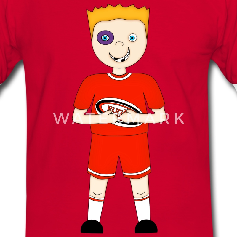 Cartoon Rugby Player in Red Kit - Mens T-shirt - Men's Ringer Shirt