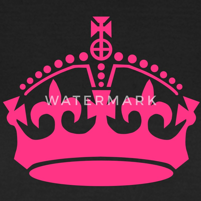 Keep calm crown neon pink on black t-shirt - Women's T-Shirt