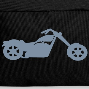 Silver metallic chopper motorcycle on black back pack - Backpack