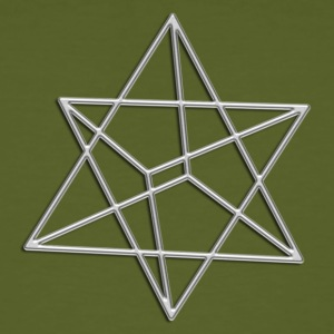Merkaba, 3D, silver, divine light vehicle, sacred geometry, star tetrahedron, flower of life T-shirts - Mannen Bio-T-shirt
