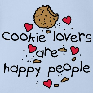 cookies lovers are happy people Babybody - Økologisk kortermet baby-body