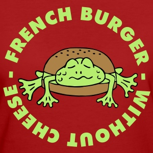 Froschburger French Burger Fastfood Frog ohne Käse without cheese Frankreich France T-shirts - Organic damer