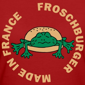 Froschburger French Burger Fastfood Frog ohne Käse without cheese Frankreich France T-Shirts - Frauen Bio-T-Shirt