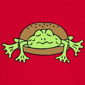 Froschburger French Burger Fastfood Frog ohne Käse without cheese Frankreich France T-shirts - Kontrast-T-shirt herr