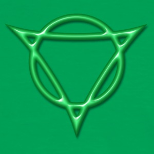 AUM - strength and radiance, digital, green, Antares symbol system, powerful symbol T-shirts - Mannen contrastshirt