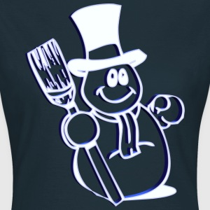 Christmas Snowman 3D with a broom and Top Hat - Women's T-Shirt