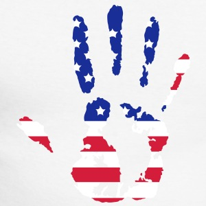 handprint with American flag Long sleeve shirts - Men's Long Sleeve Baseball T-Shirt