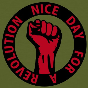2 colors - nice day for a revolution - against capitalism working class war revolution T-Shirts - Männer Bio-T-Shirt
