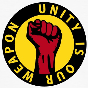 3 colors - unity is our weapon - against capitalism working class war revolution T-skjorter - Kontrast-T-skjorte for menn