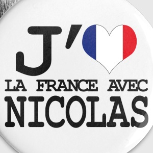 j'aime la France avec Nicolas Badges - Badge moyen 32 mm
