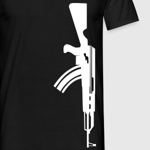 AK 47 Assault rifle white vertical on black t-shirt - Men's T-Shirt