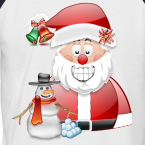 Christmas Scene Father Christmas & Snowman - Men's Baseball T-Shirt