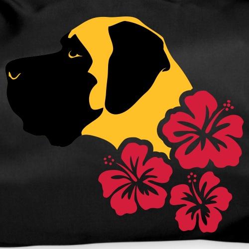 Gelbe Dogge mit Hibiskus Blüten
