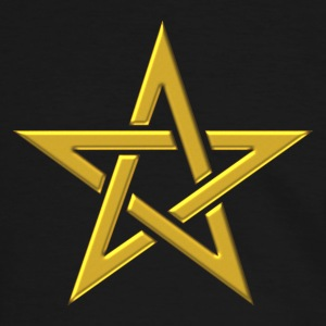 Star of the Magi - Pentagram - Sign of intellectual omnipotence and autocracy. gold, Blazing Star, powerful symbol of protection T-shirts - Herre kontrast-T-shirt