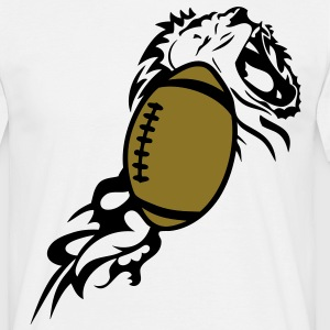 ballon foot americain rugby lion flamme1 Tee shirts - T-shirt Homme