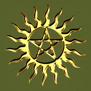 Pentagram - Blazing Star- Sign of intellectual omnipotence and autocracy. digital gold, Star of the Magi , powerful symbol of protection Tee shirts - T-shirt bio Homme