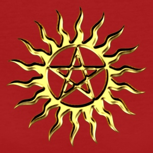 Pentagram - Blazing Star- Sign of intellectual omnipotence and autocracy. digital gold, Star of the Magi , powerful symbol of protection Tee shirts - T-shirt Bio Femme