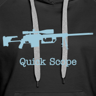 Design ~ Womens Hoodie : Quick Scope (Baby Blue)