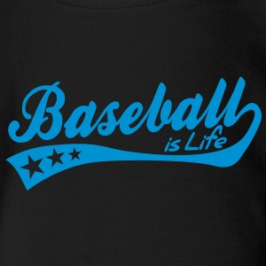 baseball is life - retro Baby Bodysuits - Organic Short-sleeved Baby Bodysuit