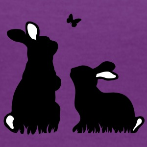 Two rabbits watching a butterfly T-Shirts - Women's Ringer T-Shirt