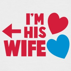 I'm his wife with arrow left and cute love hearts T-Shirts