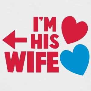 I'm his wife with arrow left and cute love hearts T-Shirts - Men's Baseball T-Shirt