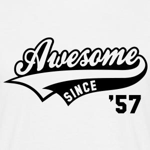 Awesome SINCE 1957 - Birthday Geburtstag Anniversaire T-Shirt BW - Herre-T-shirt